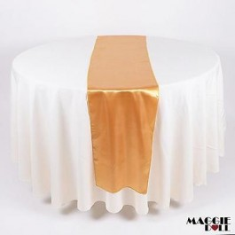 10 Satin Table Runners Sashes Cloth Cover Wedding Event [Gold]